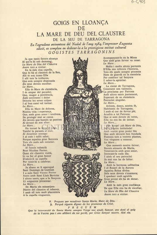 Goigs en lloança de la Mare de Déu del Claustre de la Seu de Tarragona.