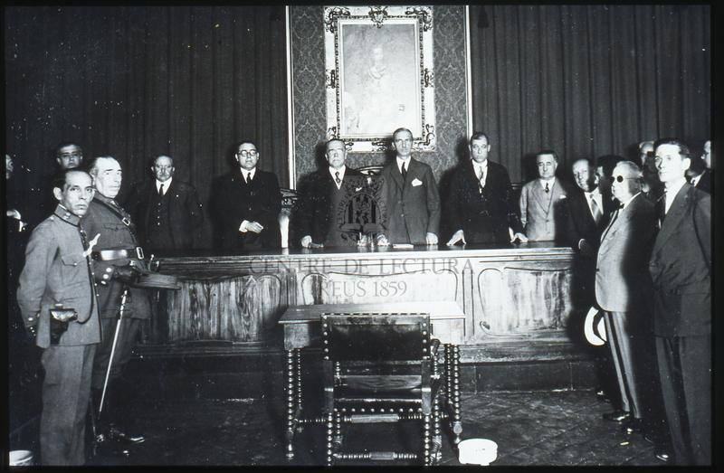 Visita a Reus del Ministre de Treball i Previsió Social del Govern Berenguer Pedro Sangro Ros de Olano (1878-1959)