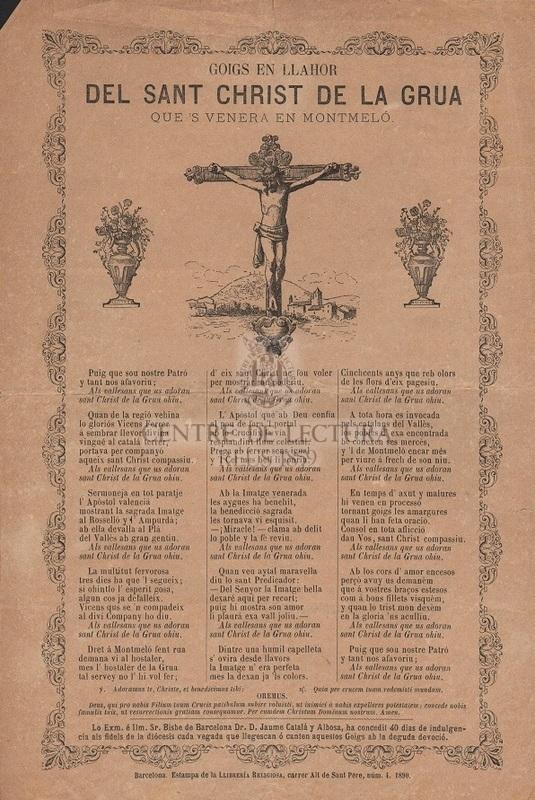 Goigs en llahor del Sant Christ de la Grua que's venera en Montmeló