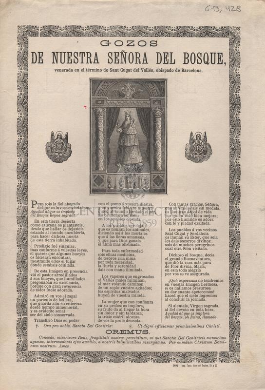 Gozos de nuestra señora del Bosque venerada en el término de Sant Cugat del Vallès, obispado de Barcelona
