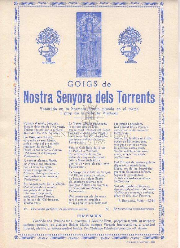 Goigs de Nostra Senyora dels Torrents Venerada en sa hermosa Ermita, situada en el terme i prop de la Vila de VImbodí