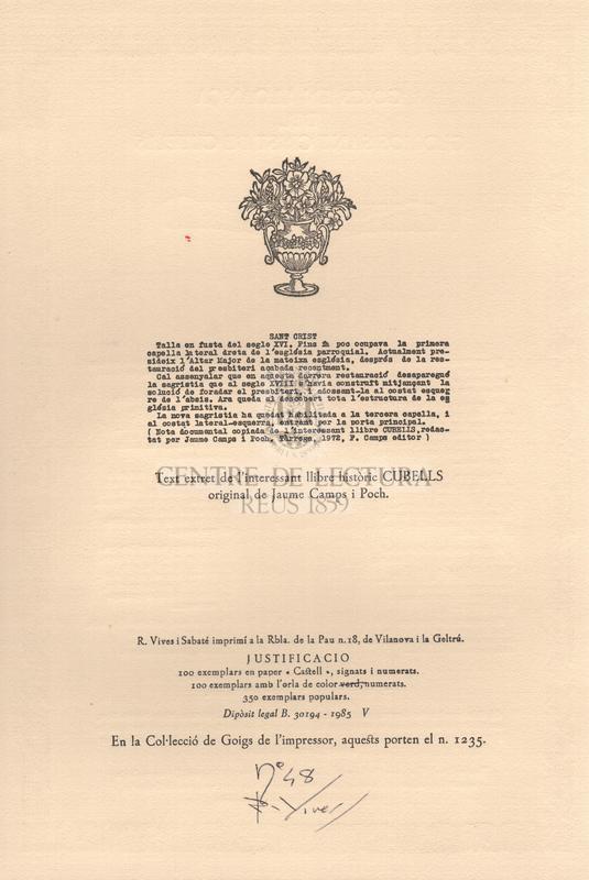 Col·lecció de cinc goigs dedicats a la Mare de Déu del Castell, a Sant Pere i al sant Crist de Cubells
