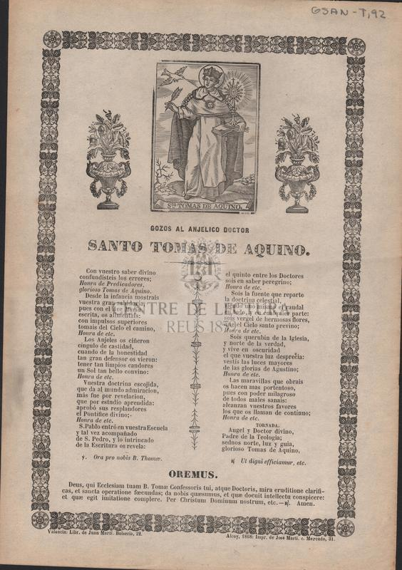 Gozos al anjelico doctor Santo Tomas de Aquino