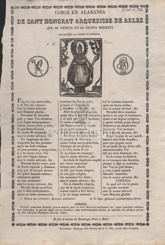 Goigs en alabansa de Sant Honorat Arquebisbe de Arles, que se venera en sa propia hermita situada en lo terme de Solsona