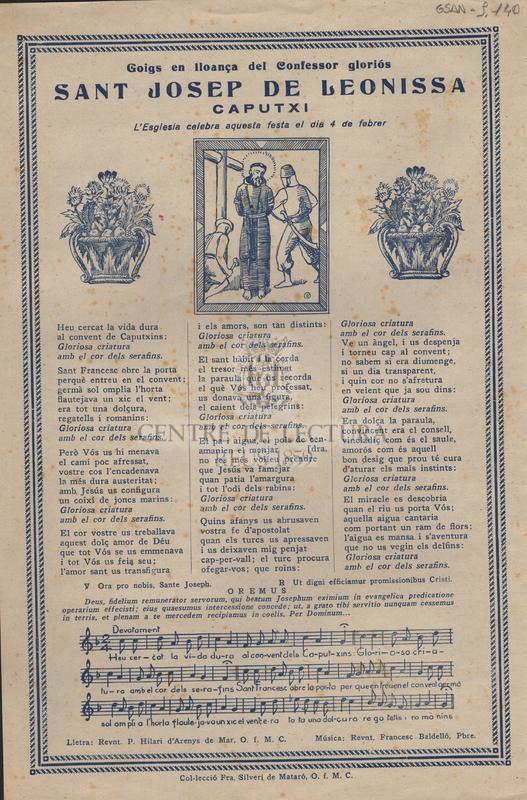 Goigs en lloança del Confessor gloriós Sant Josep de Leonissa Caputxi. L'Esglesia celebra aquesta festa el dia 4 de febrer.