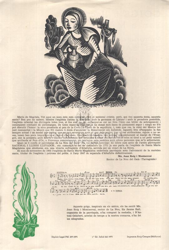 Goigs a llaor de Santa Maria Magdalena, Patrona de La Nou del Gaià, Arquebisbat de Tarragona