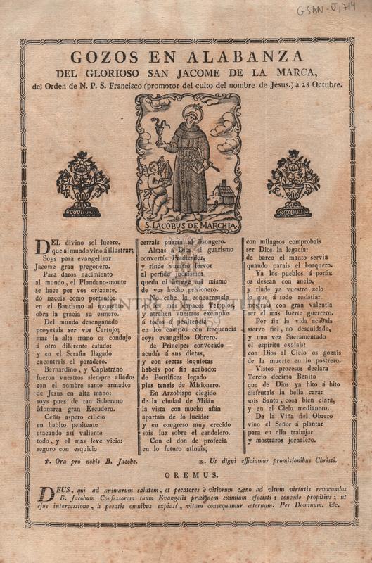 Gozos en alabanza del glorioso san Jacome de la Marca, del Orden de N. P. S. Francisco (promotor del culto del nombre de Jesus) à 28 Octubre