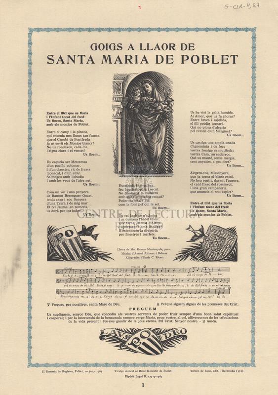 Goigs a llaor de Santa Maria de Poblet.