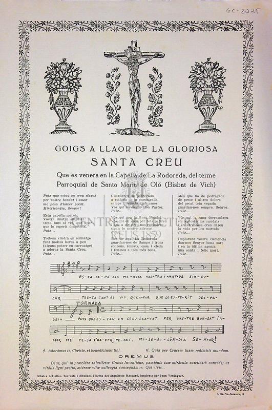 Goigs a llaor de la gloriosa Santa Creu que es venera en la Capella de La Rodoreda, del terme parroquial de Santa Maria de Oló (Bisbat de Vich)