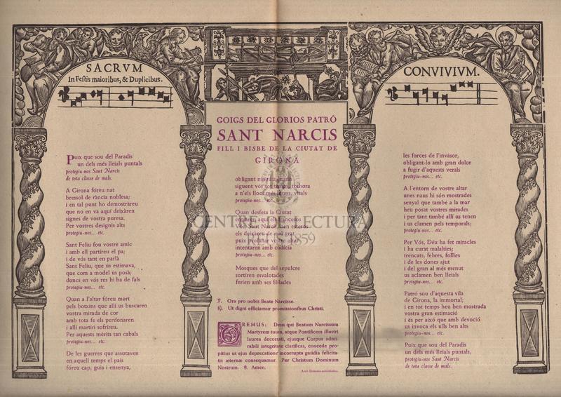 Goigs del glorios patró sant Narcis fill i bisbe de la ciutat de Girona