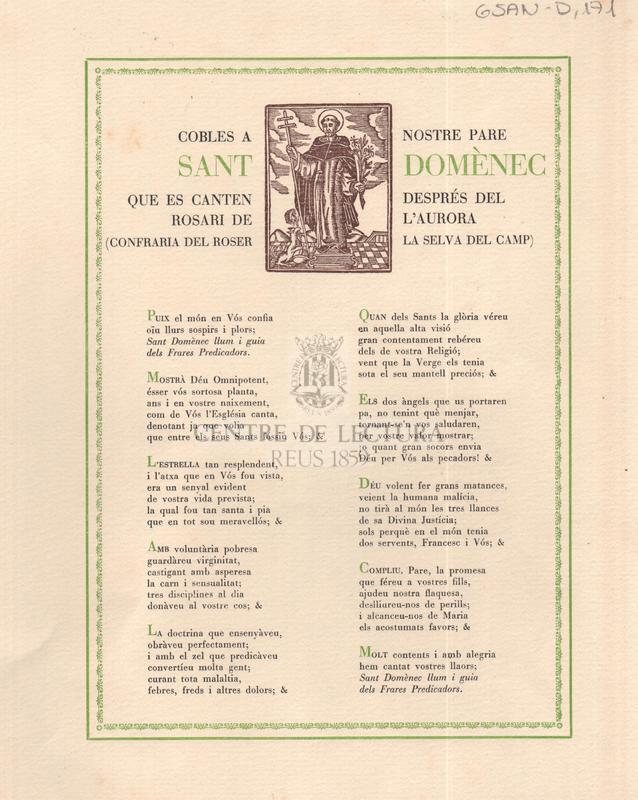 Cobles a nostre pare Sant Domènec que es canten després del rosari de l'Auropa (Confraria del Roser la Selva del Camp)