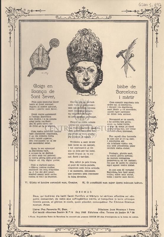 Goigs en lloança de Sant Sever, bisbe de Barcelona i màrtir