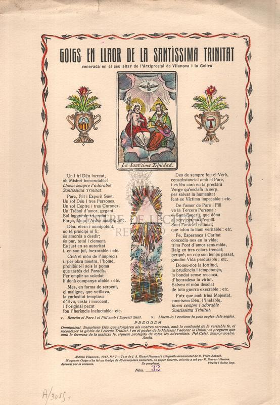 Goigs en llaor de la Santíssima Trinitat venerada en el seu altar de l'Arxipestral de Vilanova i la Geltrú