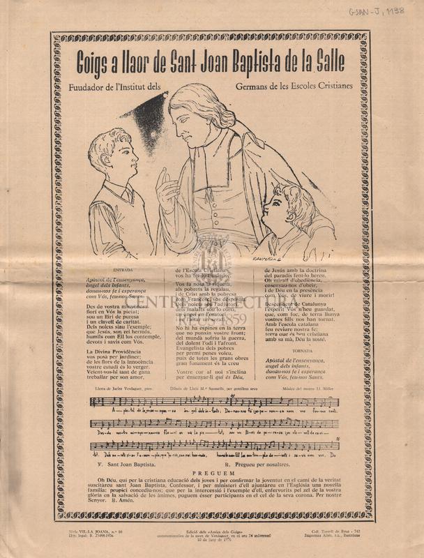 Goigs a llaor de Sant Joan Baptista de la Salle, Fundador de l'Institut dels Germans de les Escoles Cristianes