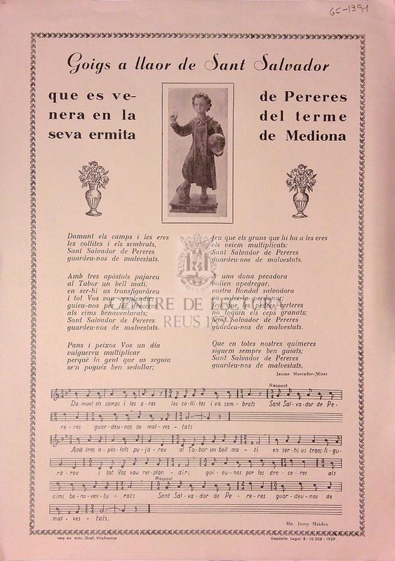 Goigs a llaor de Sant Salvador que es venera en la seva ermita de Pereres del terme de Mediona