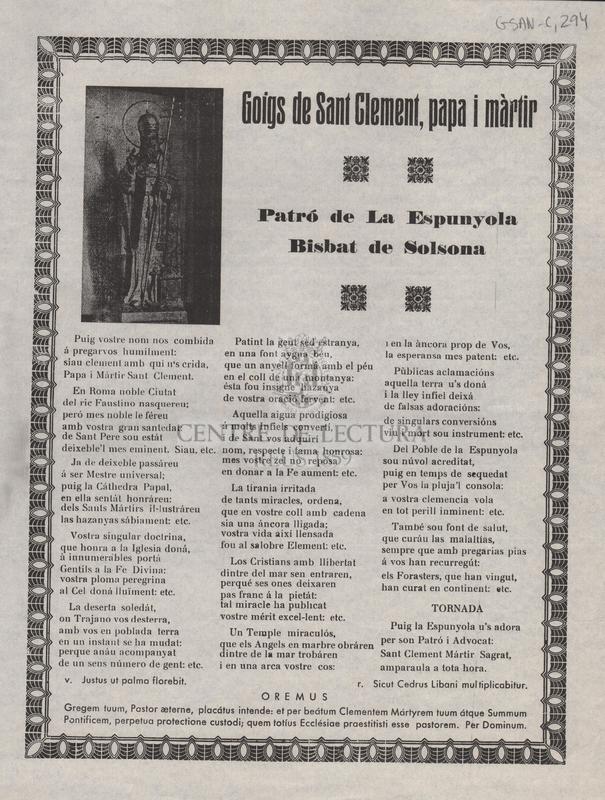 Goigs de Sant Clement, papa i màrtir Patró de La Espunyola Bisbat de Solsona
