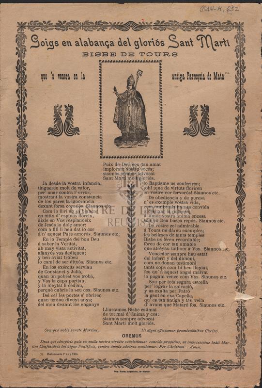 Goigs en alabansa del gloriós Sant Martí Bisbe de Tours que's venera en la antiga Parroquia de Mata