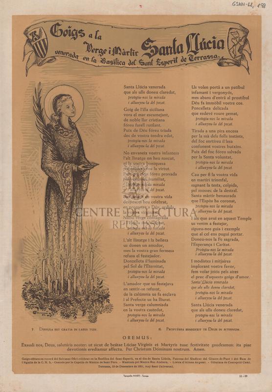 Goigs a la Verge i Màrtir Santa Llúcia venerada en la Basílica del Sant Esperit de Terrassa.