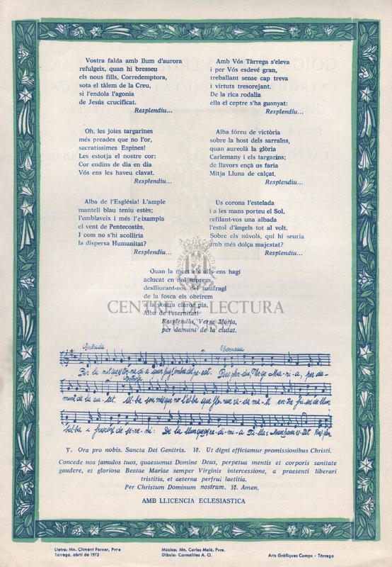 Goigs a la Verge de l'Alba, patrona de la ciutat de Tàrrega que es venera en la seva església parroquial