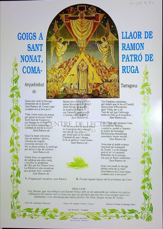 Goigs a llaor de Sant Ramon Nonat, patró de Comaruga, arquebisbat de Tarragona