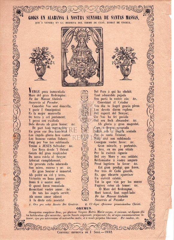 Goigs en alabansa á Nostra Senyora de Santes Massas que's venera en la Hermita del terme de Cedó, Bisbat d'Urgell