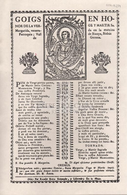 Goigs en honor de la verge y martir Sa. Margarida, venerada en la mateixa Parroquia; Vall de Bianya, Bisbát de Gerona.