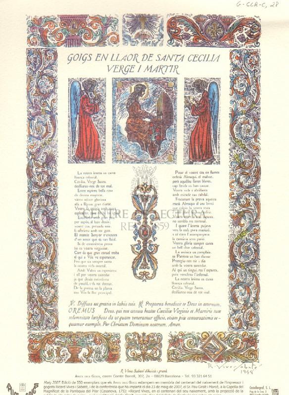 Goigs en llaor de Santa Cecília verge i màrtir