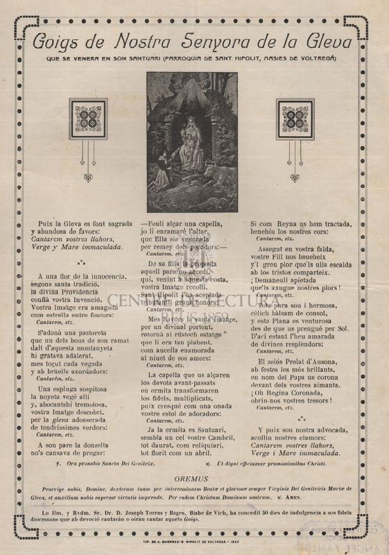 Goigs de Nostra Senyora de la Gleva que se venera en son santuari (parroquia de Sant Hipolit, Masies de Voltregá)