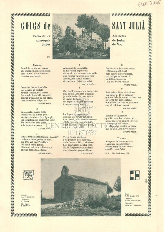 Goigs de Sant Julià, Patró de les Alzinetes, parròquia de Jorba bisbat de Vic