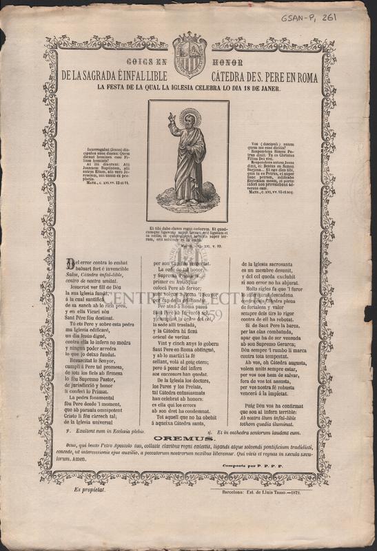 Goigs en honor de la sagrada é infal·lible cátedra de S, Pere en Roma. La festa de la qual la iglesia celebra lo dia 18 de Janer
