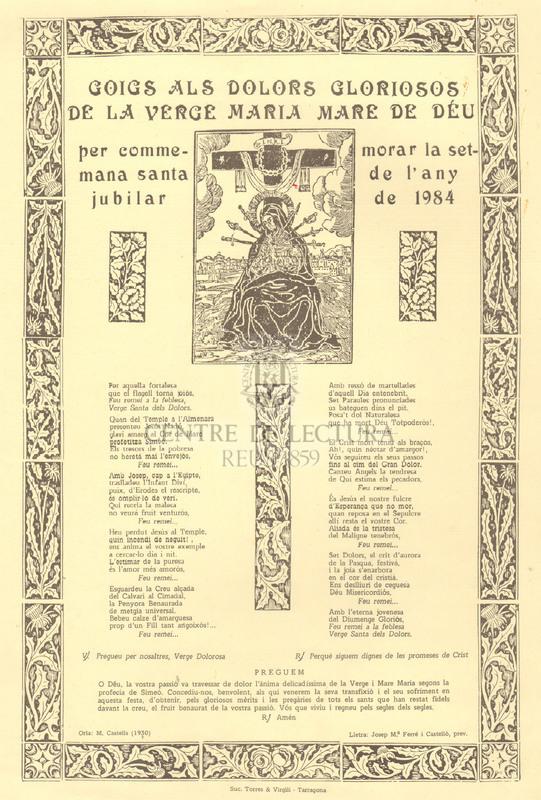 Goigs als dolors gloriosos de la Verge Maria Mare de Déu per commemorar la setmana santa de l'any jubilar de 1984