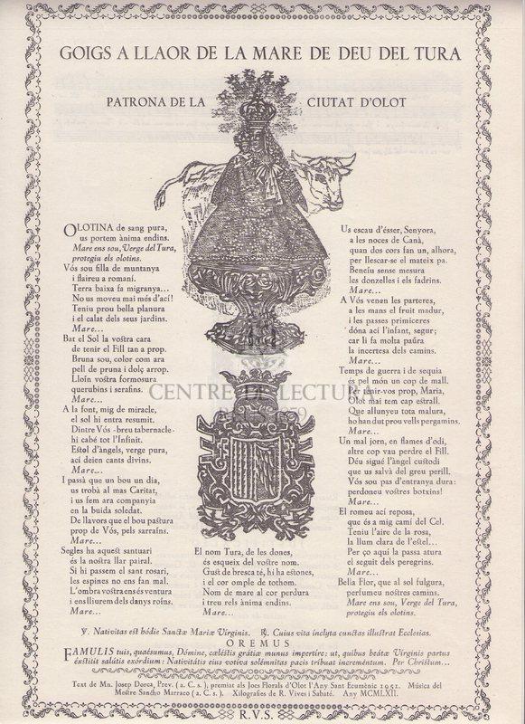 Goigs a llaor de la Mare de Déu del Tura patrona de la ciutat d'Olot