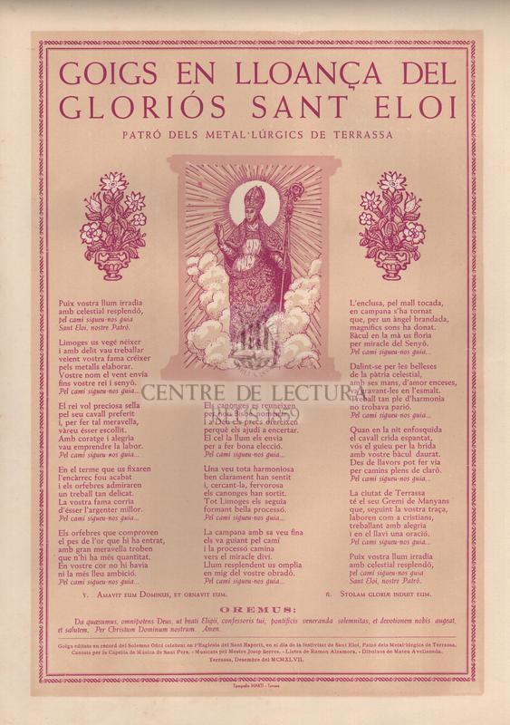 Goigs en lloança del gloriós Sant Eloi, patró dels metal·lúrgics de Terrassa