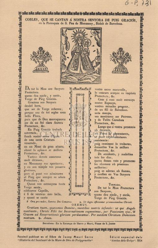 Cobles, que se cantan á Nostra Senyora de Puig Graciós, en la Parroquia de S. Pau de Monmay, Bisbáat de Barcelona.