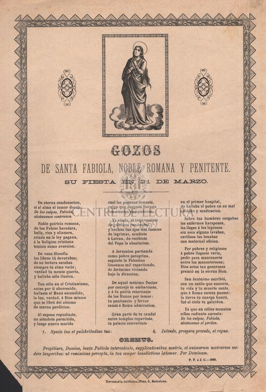 Gozos de santa Fabiola, noble romana y penitente, Su fiesta en 21 de marzo