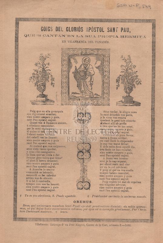 Goigs del gloriós Apóstol Sant Pau, que's canten en la sua propia Hermita en Vilafranca del Panadés