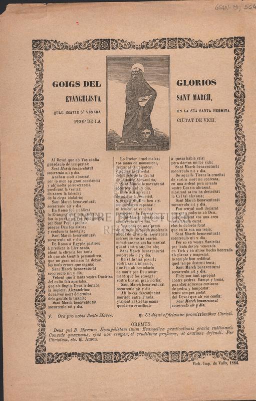 Goigs del glorios Evangelista Sant March, qual imatje s'venera en la sua santa hermita prop de la ciutat de Vich