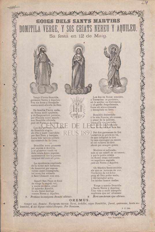Goigs dels sants martirs Domitila verge, y sos criats Nereu y Aquileu, Sa festa en 12 de Maig