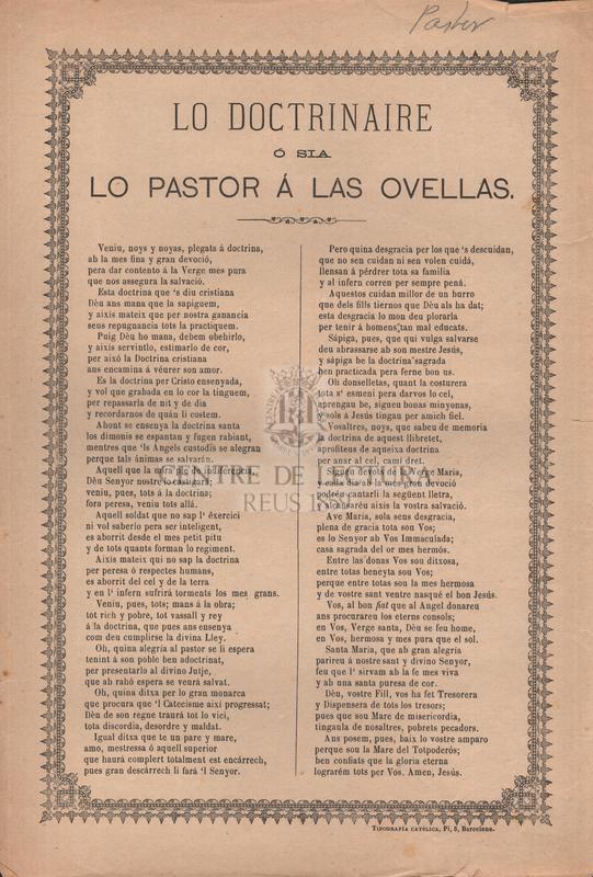 Lo doctrina ó sia lo pastor á las ovellas
