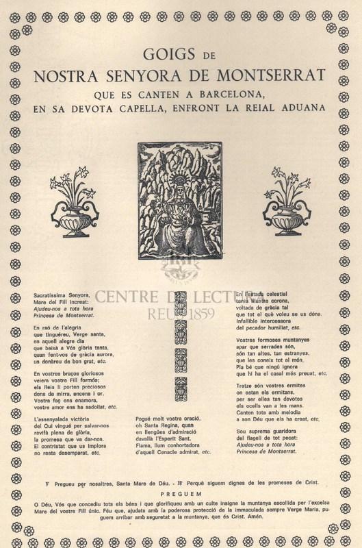Goigs de Nostra Senyora de Montserrat que es canten a Barcelona, en sa devota capella, enfront la reial aduana.