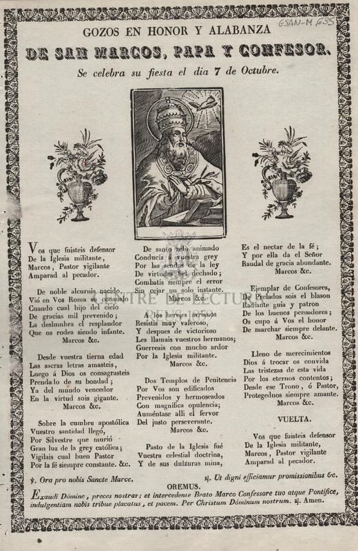 Gozos en honor y alabanza de San Marcos, Papa y Confesor. Se celebra su fiesta el dia 7 de Octubre