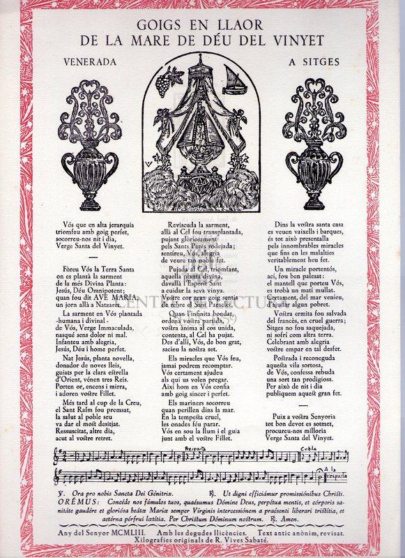 Goigs en llaor de la Mare de Déu del Vinyet venerada a Sitges