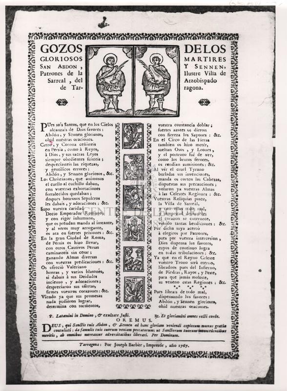 Gozos de los gloriosos martires San Abdon, y Sennen, Patrones de la Ilustre Villa de Sarreal, del Arzobispado de Tarragona.