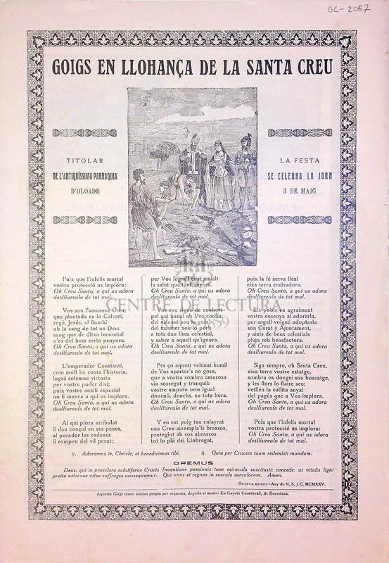 Goigs que en llohansa de la Santa Creu titolar de l'antiquíssima parroquia d'Olorde, la festa se celebra lo jorn del 3 de Maig