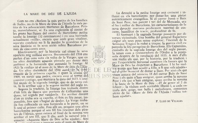 Goigs a llaor de la Mare de Déu de l'Ajuda imatge venerada a l'Església dels PP. Caputxins (Barcelona).