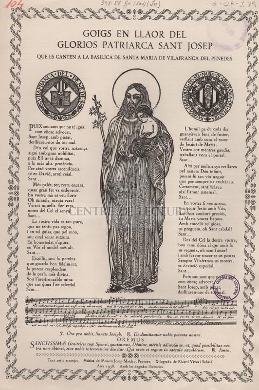 Goigs en llaor del gloriós patriarca sant Josep que es canten a la basílica de Santa Maria de Vilafranca del Penedès.