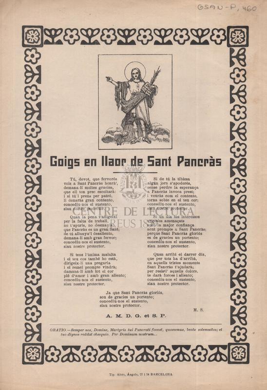 Goigs en llaor de Sant Pancràs
