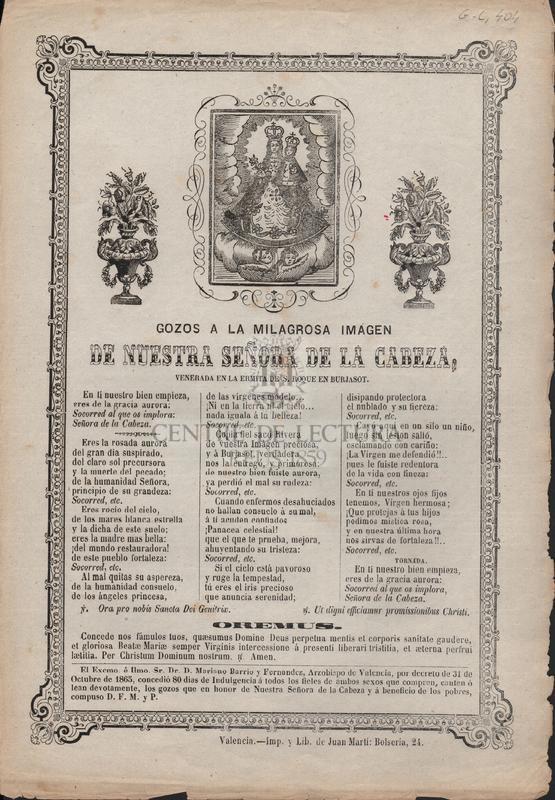 Gozos a la Milagrosa imagen de Nuestra Señora de la Cabeza, venerada en la ermita de S. Roque de Burjasot.