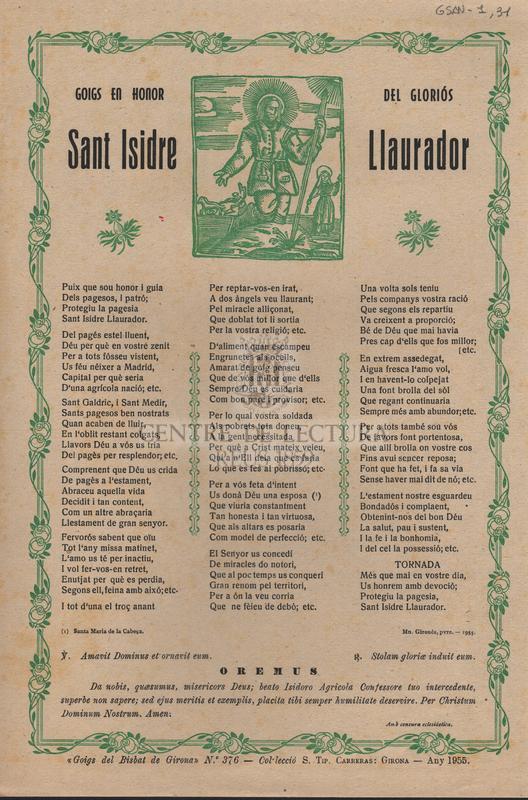 Goigs en honor del gloriós Sant Isidre Llaurador.