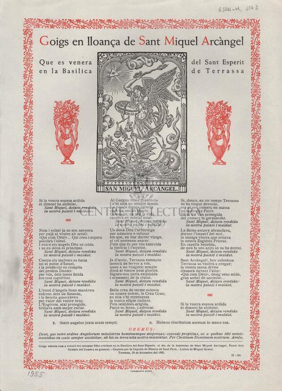 Goigs en lloança de Sant Miquel Arcàngel que es venera en la Basílica del Sant Esperit de Terrassa